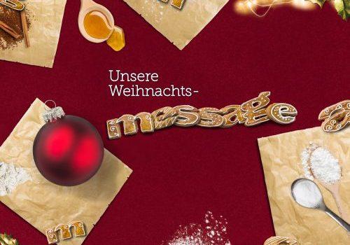 Message Logo aus Lebkuchen auf weihnachtlich dekoriertem Tisch