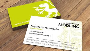 Visitenkarten im neuen Verwaltungsdesign Mödling