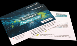 Postkarten mi den Staatspreis-Mobiliät-Sujet