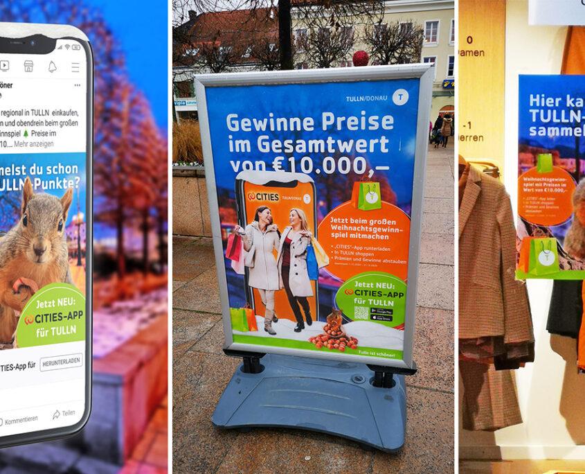 Beispiele Cities App Tulln Plakate und Facebook