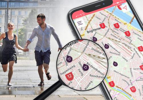 Detail aus der App Cooles Wien und Sujetfoto
