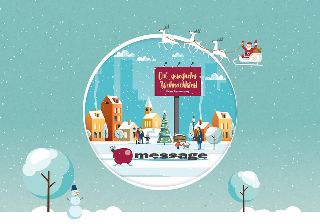 Illustration winterliche Stadt