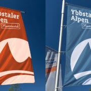 Ybbstaler Alpen Logo auf Flaggen